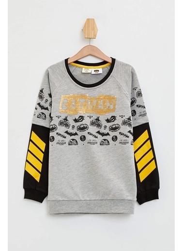 DeFacto Batman Lisanslı Renk Bloklu Sweatshirt Gri